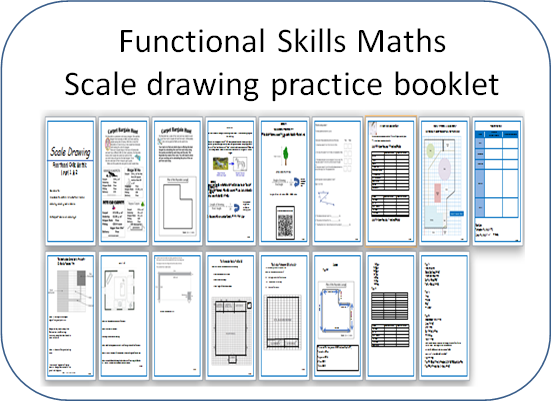 Functional Skills Maths Scale Plan  practice booklet 17 pages including answers