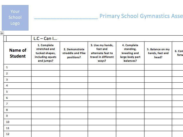 Gymnastics Assessment Primary