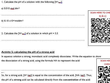 KS5, Acids, bases & pH - pH & strong acids lesson (teacher powerpoint & student workbook)