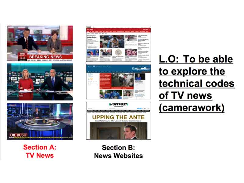 TV News analysis - camerawork - WJEC Media 2018 exam