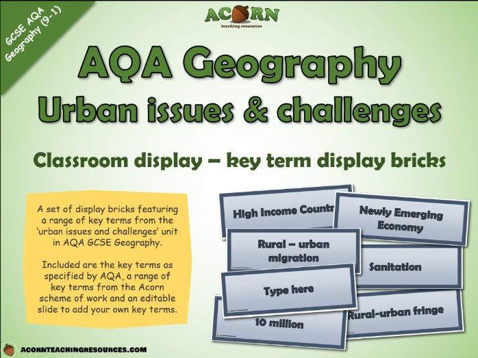 Geography - Key term bricks - Urban issues and challenges