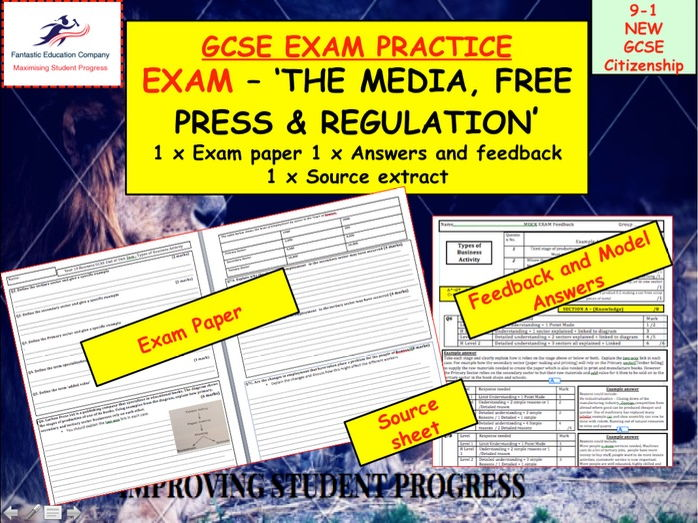Assessment Exam on The Media, Free press and regulation New GCSE Citizenship 9-1.