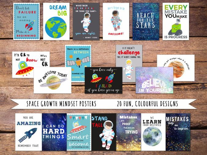 Growth Mindset Motivational Posters, Space Theme