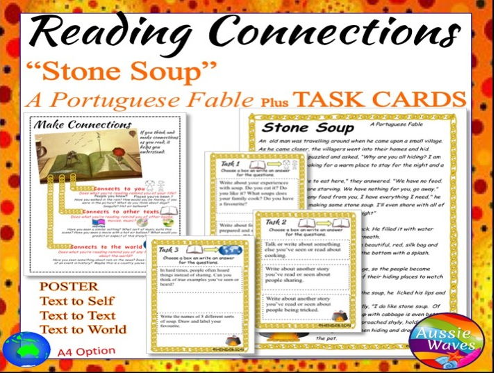 Myth Legend from Portugal STONE SOUP Text & Task Cards Make Connections & Close Question