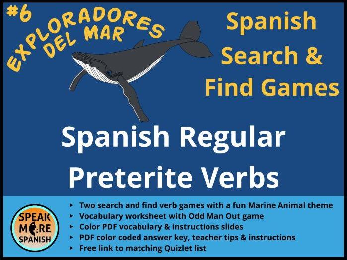 Games for Spanish Regular Preterite Tense Verbs  * Juego de Verbos del pretérito regular en español