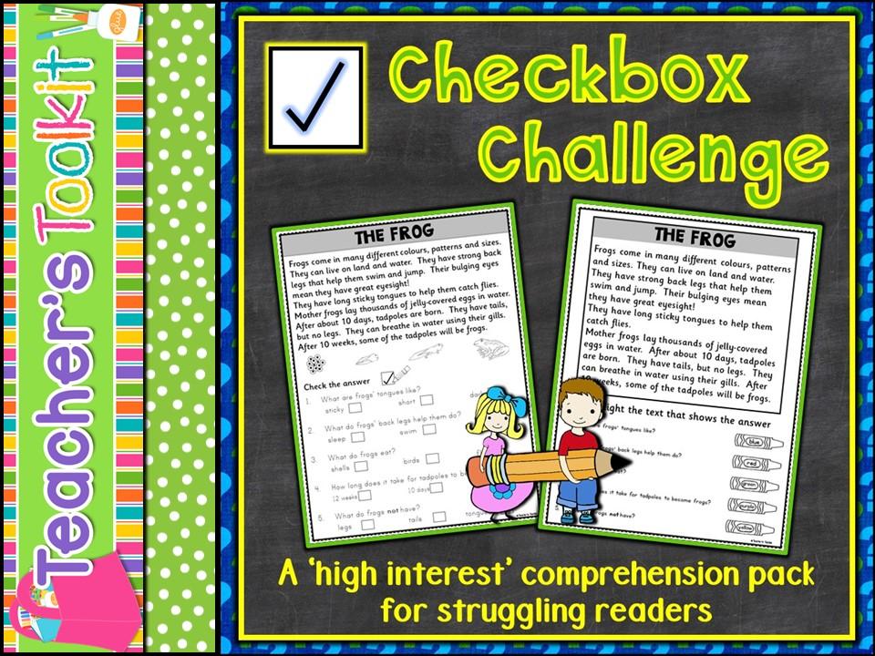 Reading Comprehension: Checkbox Challenge Non-fiction Comprehension