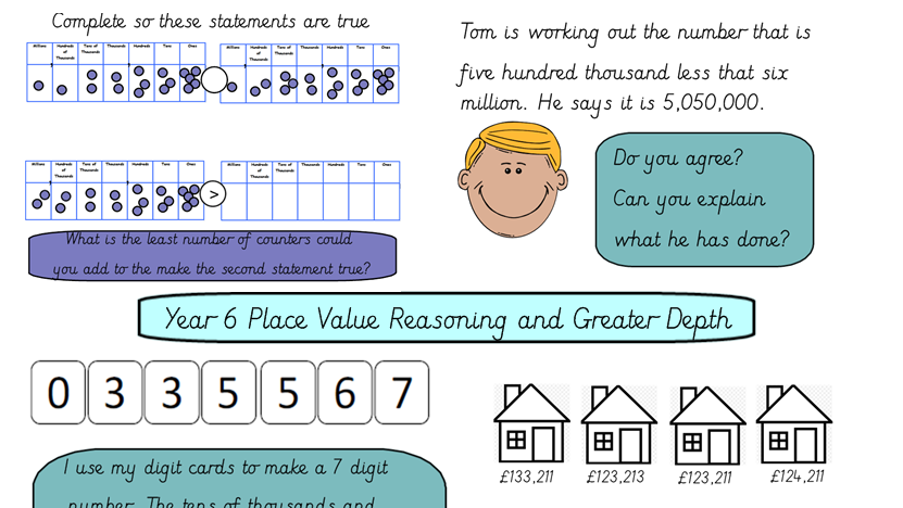 Year 6 Place Value Reasoning, Mastery and Greater Depths Tasks