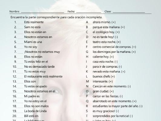 Present Simple with Verbs Estar and Ser Sentence Match Spanish Worksheet