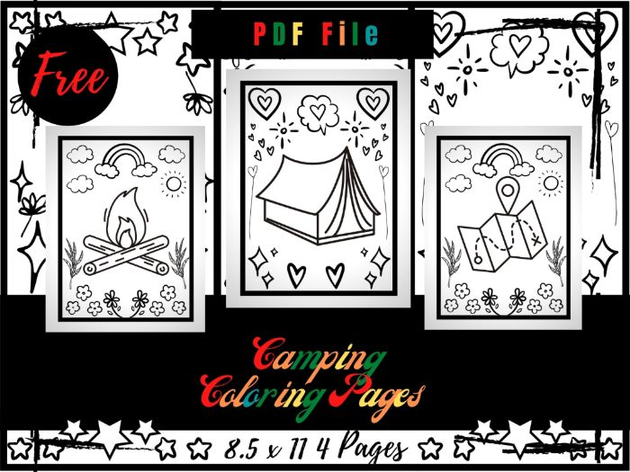 FREE Camping Colouring Pages For Kids, Tent, Campfire Colouring Sheets PDF