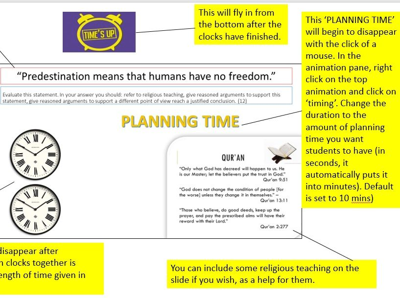 AQA RS 12 Mark Question Timer, Plan and Template