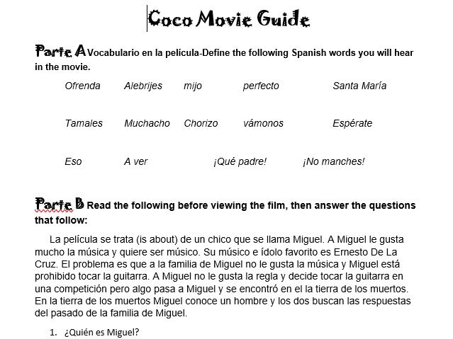 Disney Pixar Coco Movie Guide for Spanish Class No Prep Sub Plan Editable