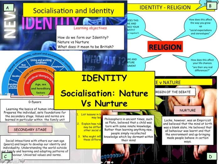 Identity: What makes up your identity? Socialisation Nature Vs Nurture Debate Sociology Citizenship