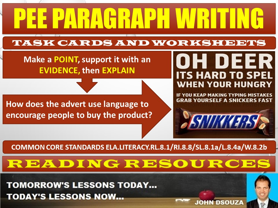 PEE PARAGRAPH TASK CARDS AND WORKSHEETS