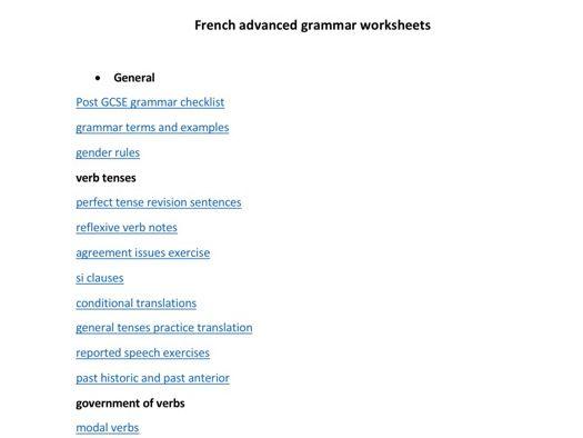 French advanced grammar worksheets