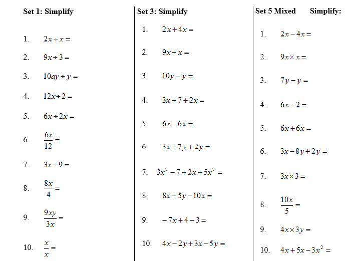 Year 7 Algebra /Fractions/Decimal worksheets