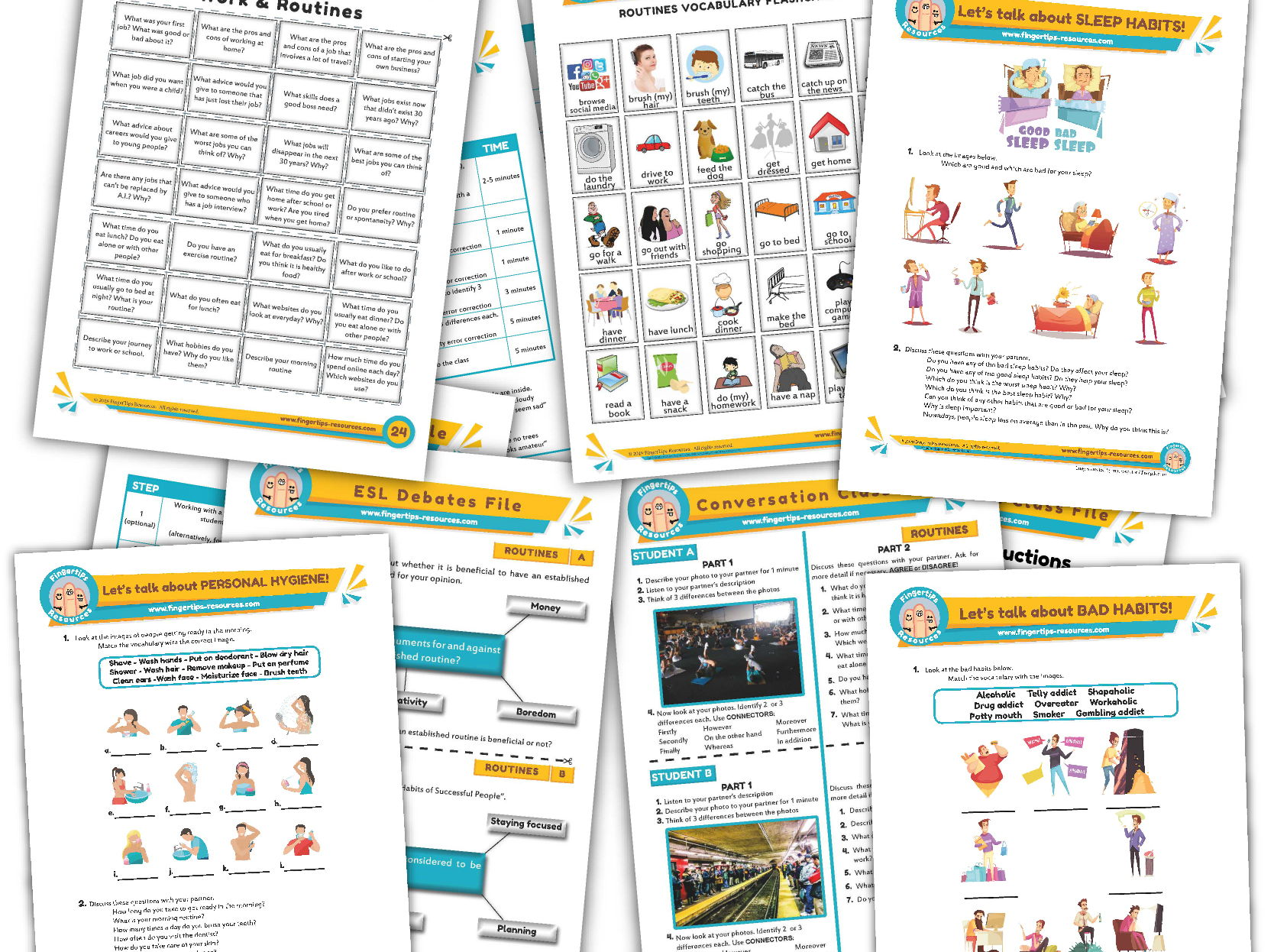 Daily Routines & Habits Unit - ESL Activity Bundle
