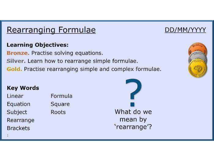 Algebra 11/31 Rearranging Formulae