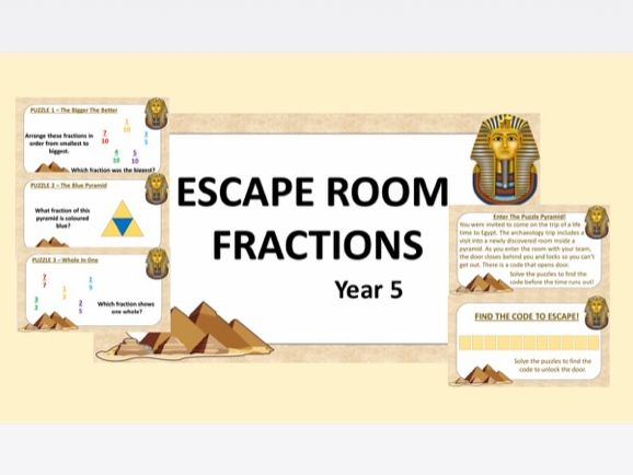 Maths Escape Room: Fractions UKS2 Y5/Y6 (White Rose Hub)