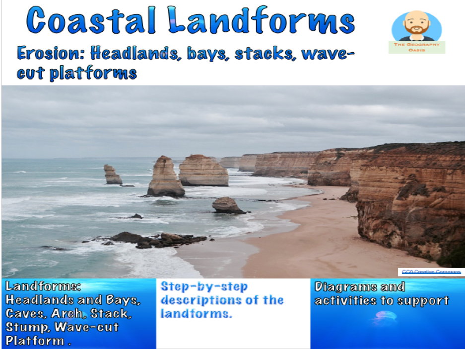Coasts- Erosional Landforms- Bays, Headlands, Caves, Arch, Stack, Stump, Wave-cut notch/platform