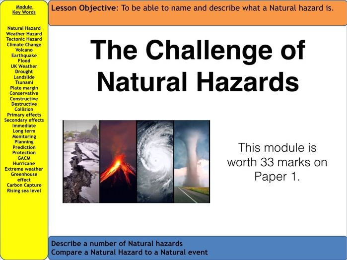 AQA Natural Hazards - 7 lessons Tectonic Hazards Section
