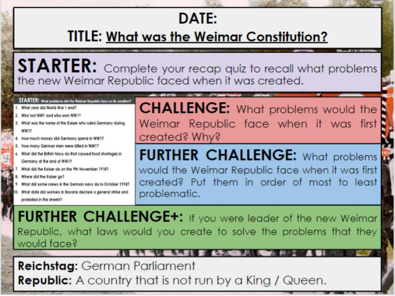 Edexcel 9-1 History GCSE: Paper 3 Germany: KT1 Lesson 2: What was the Weimar Constitution?