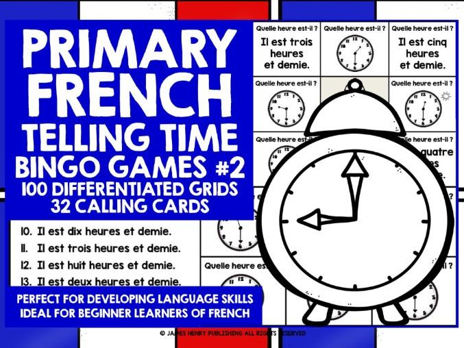 PRIMARY FRENCH TELLING TIME BINGO #2