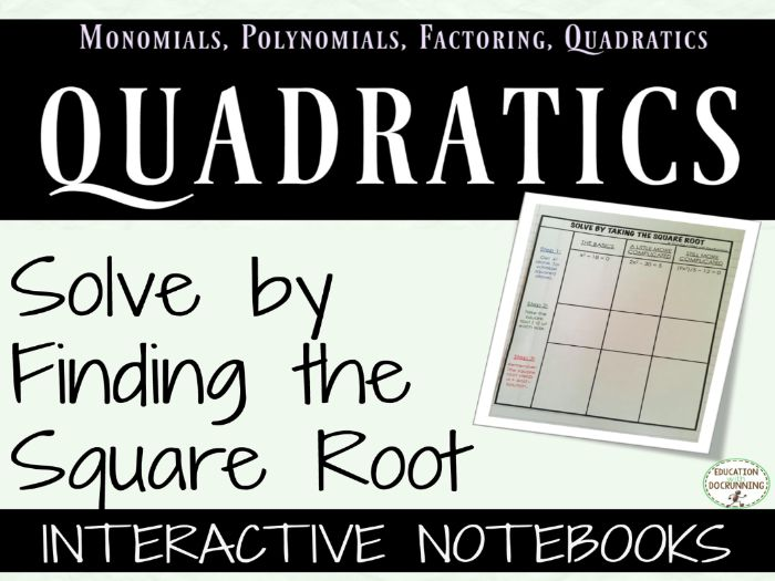 Quadratic Equations - solve by finding the square root Interactive Notebook Graphic Organizer