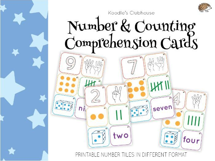 Number and counting comprehension cards