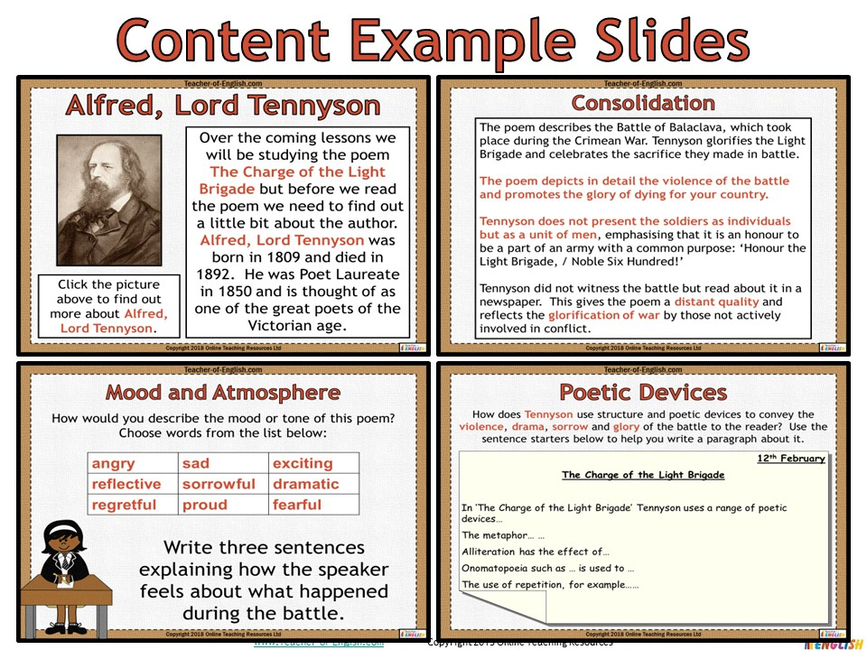 The Charge Of The Light Brigade Alfred Lord Tennyson Powerpoint