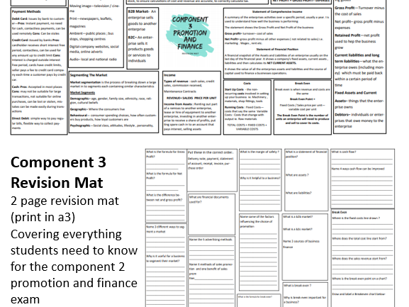 Component 3 Promotion and Finance BTEC Enterprise Exam A3 Revision Mat and Questions