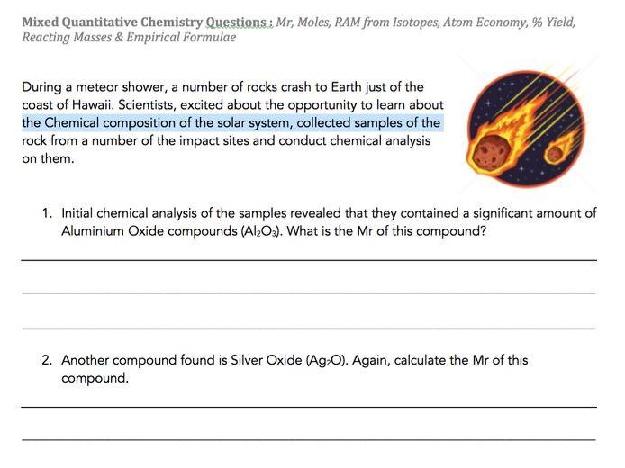 Quantitative Chemistry - Mixed Questions & Answers