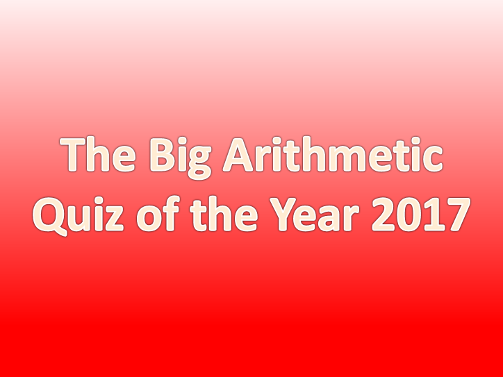 The Big Arithmetic Quiz of the Year KS2