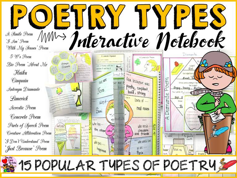 POETRY UNIT - 15 POEM TYPES-INTERACTIVE NOTEBOOK