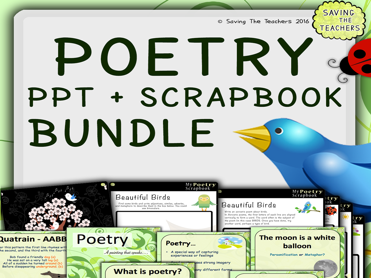 Spring Poetry Scrapbook, Help Cards, and PowerPoint Bundle