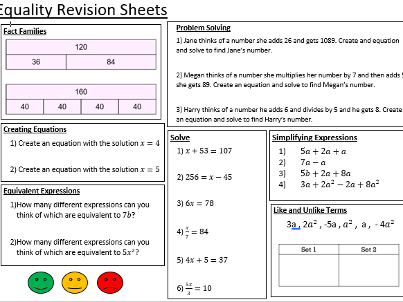 Year 7 White Rose Revision Sheets - Algebraic Thinking