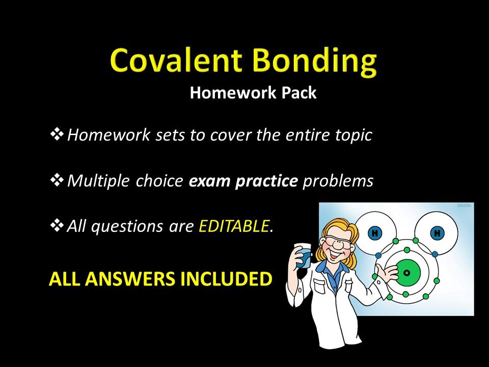 Covalent Bonding Unit HOMEWORK w/ ANSWERS, MCQ Exam Practice Problems, Chemistry SAT