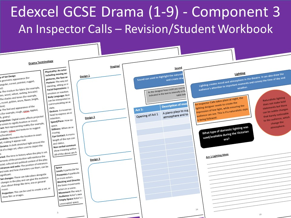 Edexcel GCSE Drama: Component 3: Section A - An Inspector Calls Revision/Work Booklet