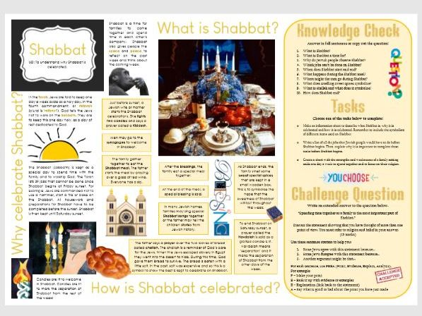 Judaism: Shabbat/SabbathTask Mat