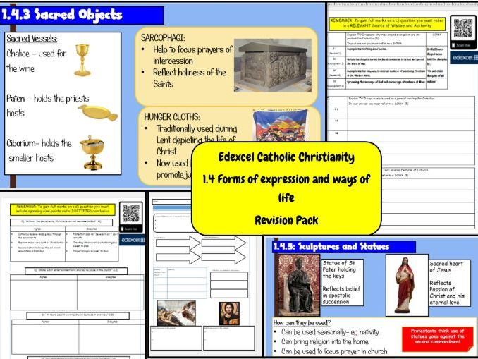 Edexcel Catholic Christianity: 1.4 Forms of Expression and ways of life- Revision pack