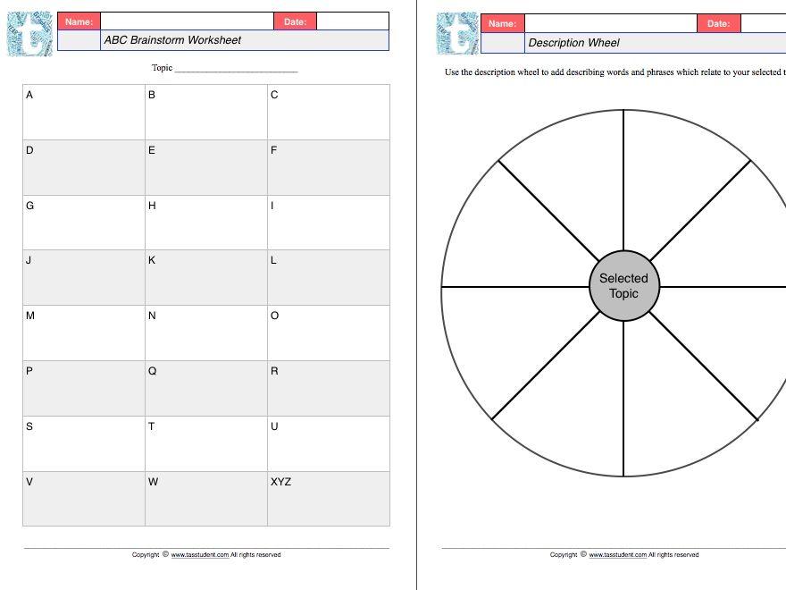 Graphic organisers worksheet set