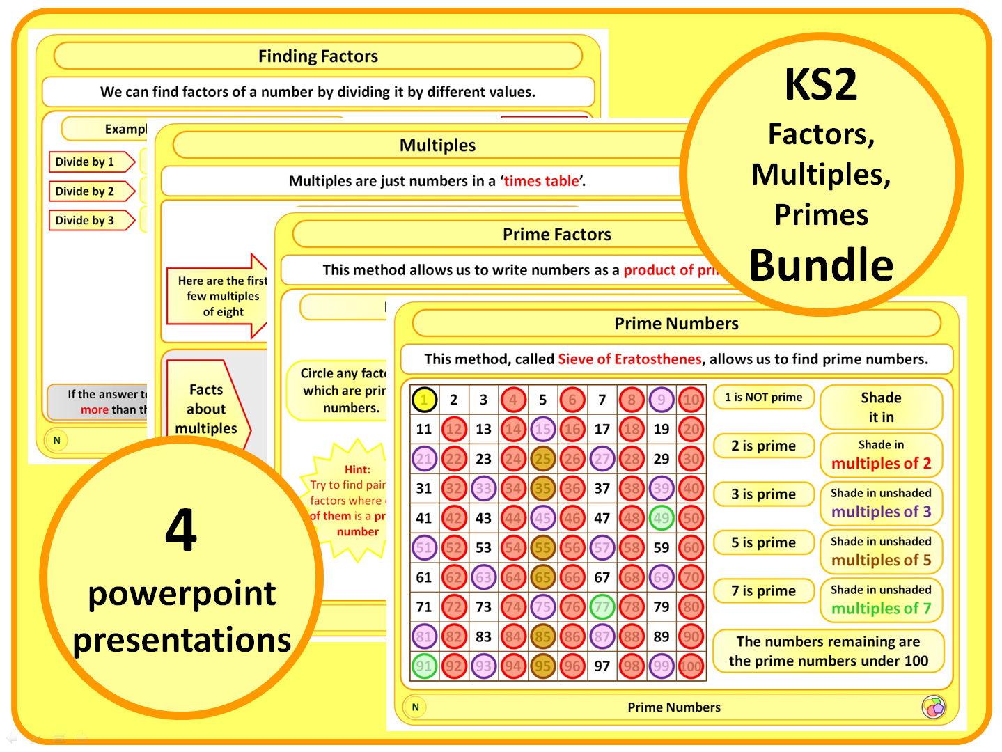 KS2 Factors, Multiples, Primes BUNDLE