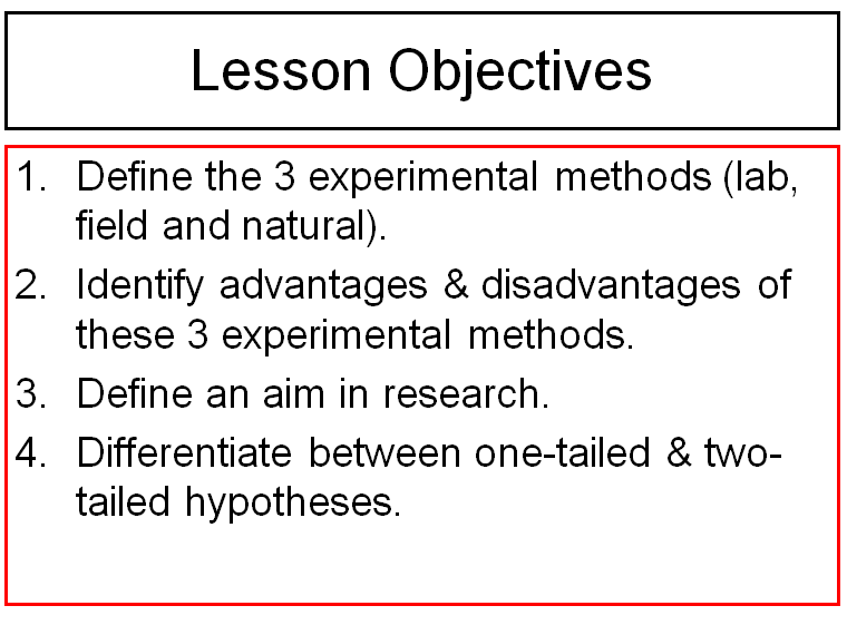 Experimental Methods and Hypotheses