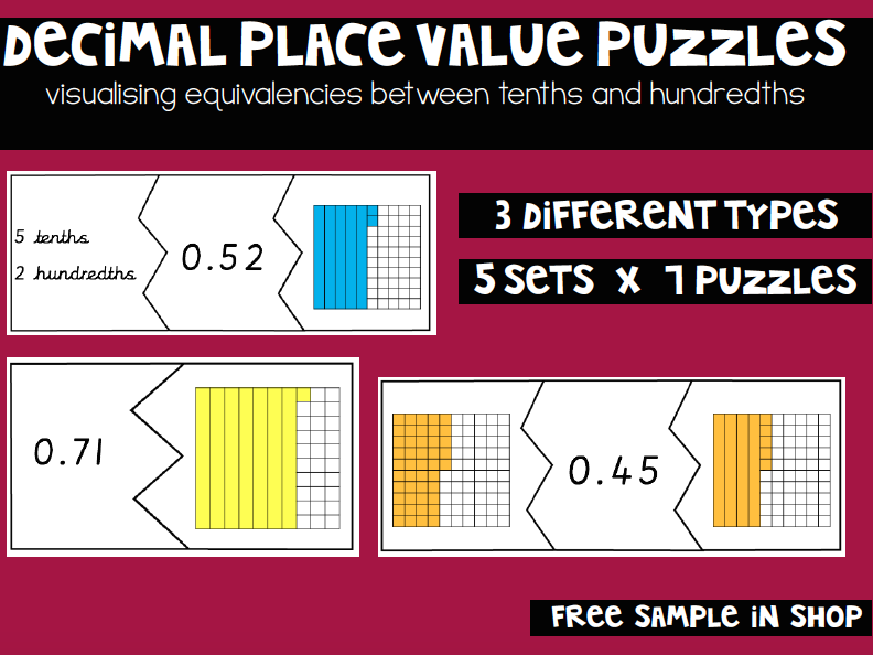 Decimal Puzzles: Tenths and Hundredths Equivalencies