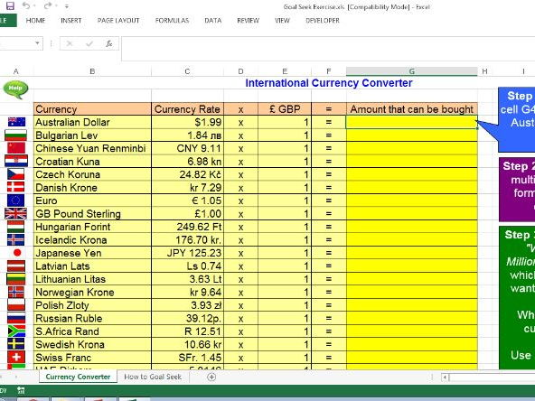 Goal Seek - Currency Converter (Excel)