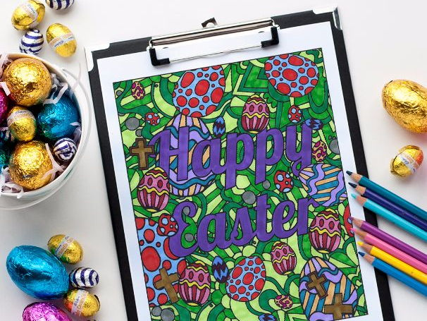 Happy Easter – Free Colouring Page