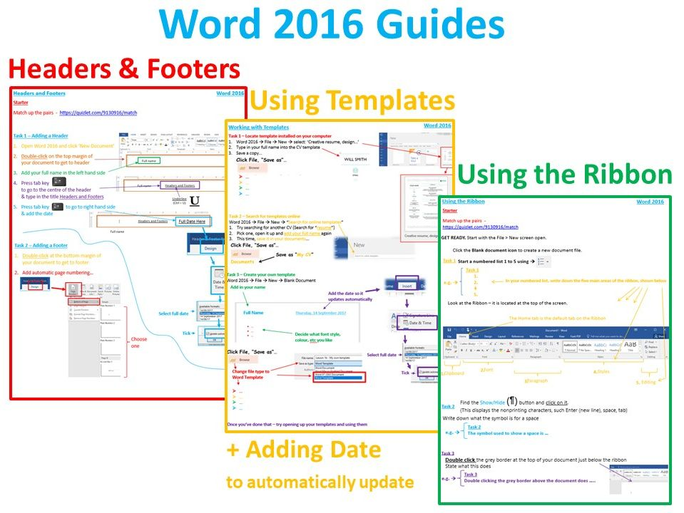 3 x Word 2016 Guides - Very Clear, Interesting and Easy to follow!