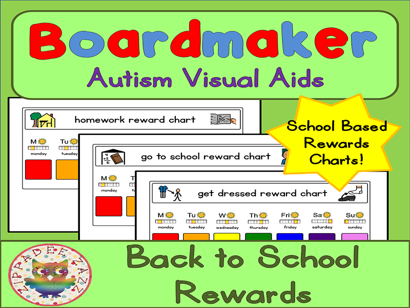 Back to School Visual Aids Reward Charts - Boardmaker Visual Aids for Autism PECS