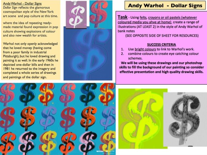 Warhol Dollar Sign Drawing Lesson