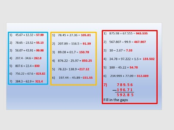 Decimal addition and subtraction
