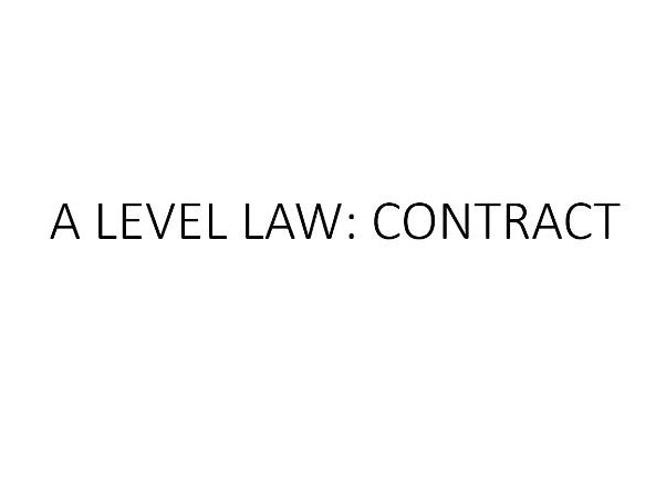 OCR A-Level Law Revision Posters CONTRACT